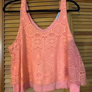Charlotte Russe Pink Lace Crop Top Size Large